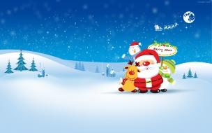 Papa noel con el reno y dos munecos de nieve