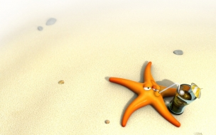 Fondo de pantalla estrella de mar bebiendo