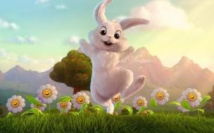 Fondo de pantalla conejo saltando