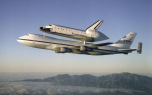 Atlantis on shuttle carrier