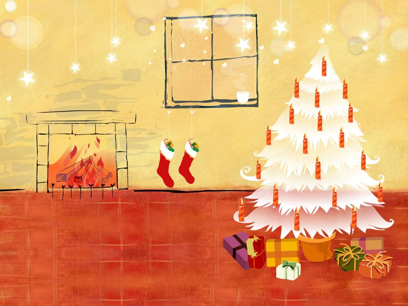Arbol de navidad blanco con regalos 1400x1050 fondo de - Arbol de navidad con regalos ...