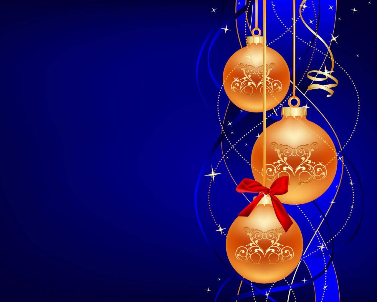 bolas naranjas navideas con fondo azul