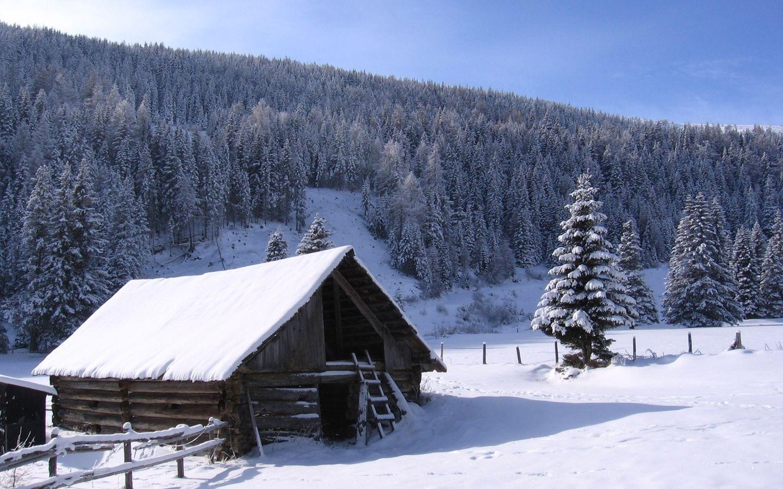 Fondo Escritorio Paisaje Bonita Nevada: Cabaña De Madera En La Nieve 1440x900