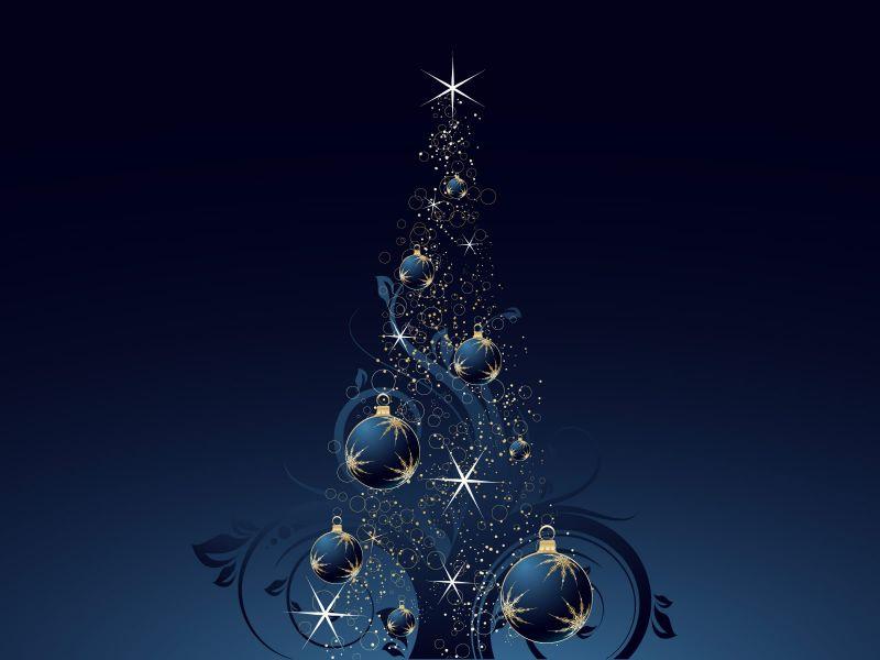 Fondo de pantalla arbol de navidad con bolas azules y - Arbol de navidad de bolas ...