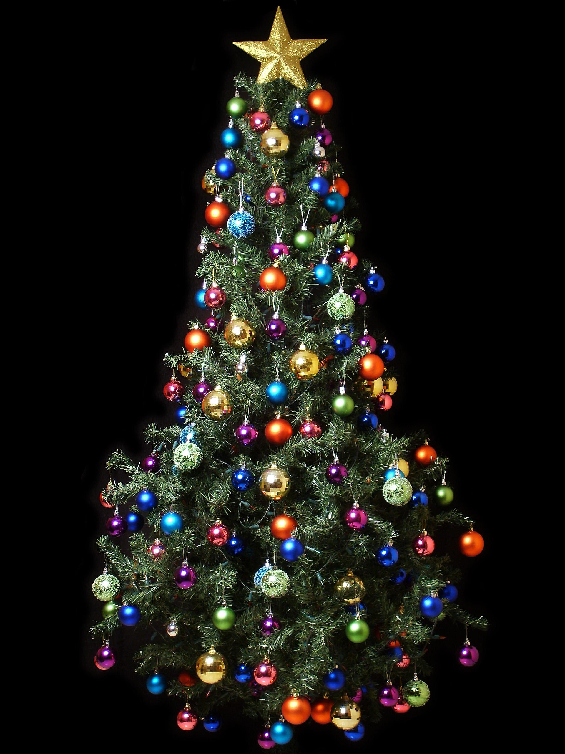 Fondo de pantalla arbol de navidad con bolas de colores - Albol de navidad ...