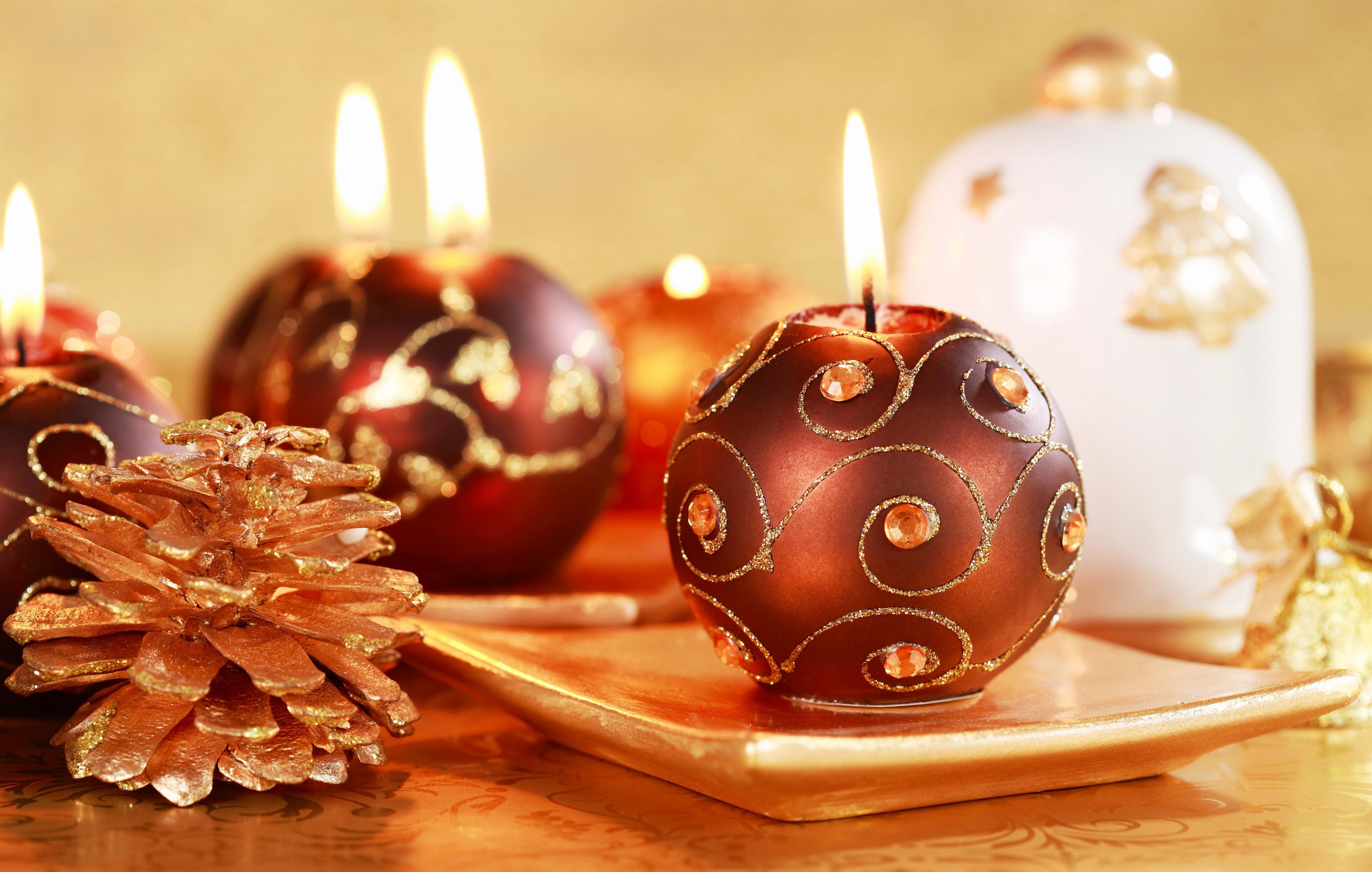 Vela Navidad Fondo De Pantalla De Navidad Con Velas Y Adornos - Velas-de-navidad