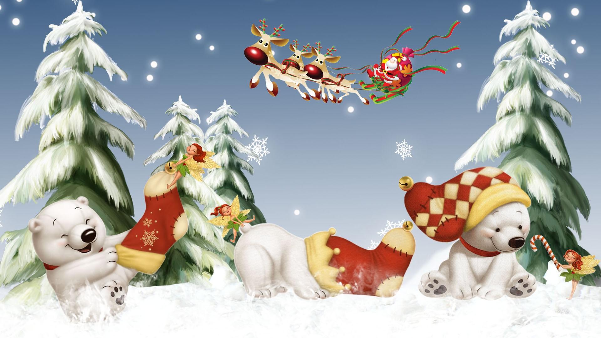 обои для рабочего стола новогодние зима № 616266 загрузить