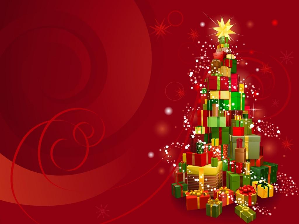Arbol de navidad hecho con regalos 1024x768 fondo de - Planta navidad ...
