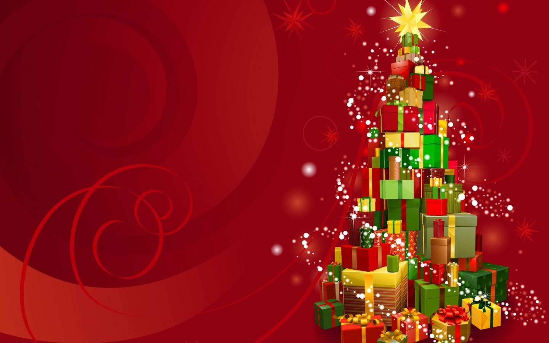 Arbol de navidad hecho con regalos 1440x900 fondo de - Arbol de navidad con regalos ...
