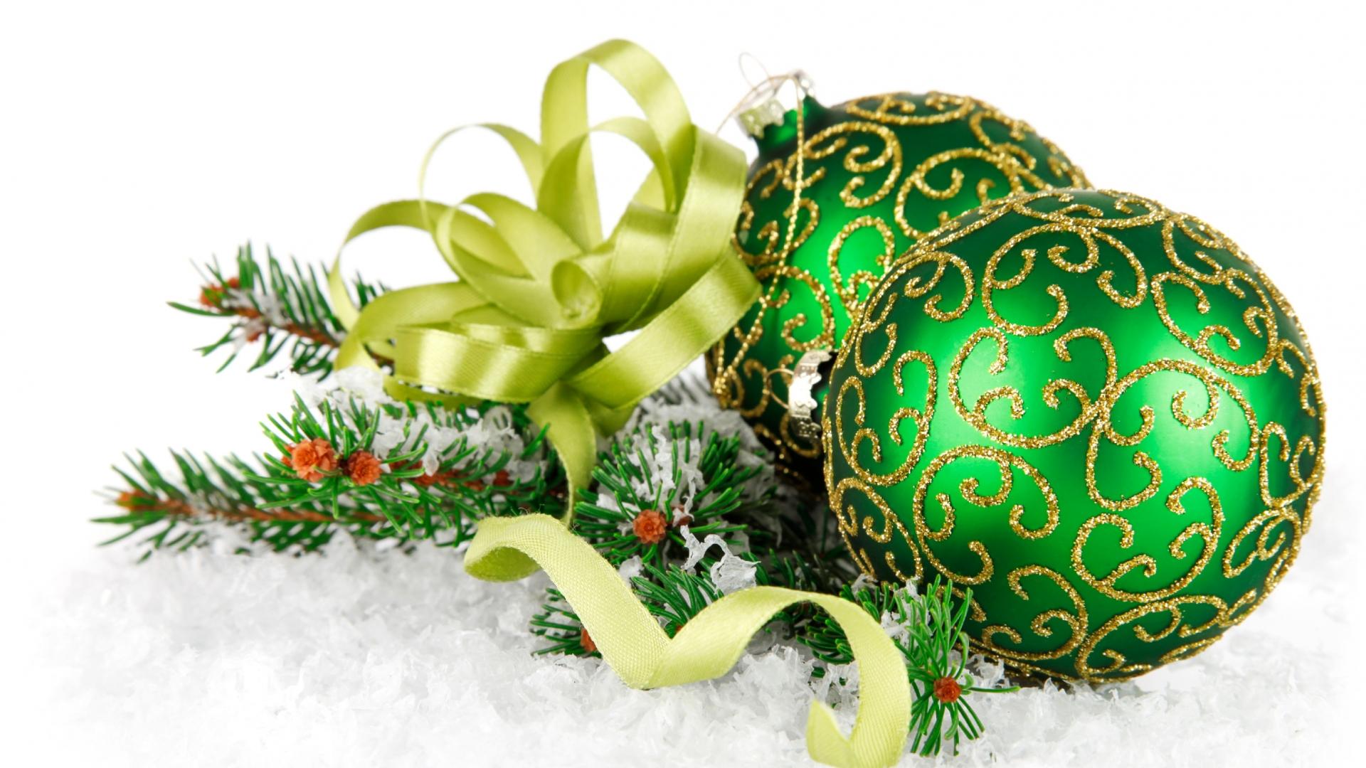 Bolitas verdes con escarcha 1920x1080 fondo de pantalla - Adornos de navidad online ...